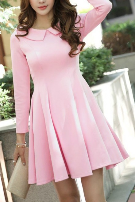 Long-Sleeve Collared A-Line Dress