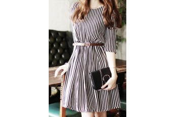 Lined Dress with Belt