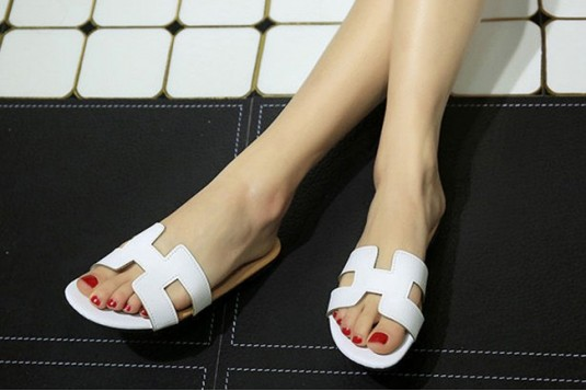 Faux Leather Slide Flat Sandals White