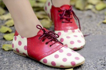 Rosette Detail Polka Dot Print Shoes