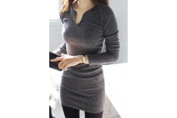 Stylish Turtleneck Solid Color Long Sleeve Dress