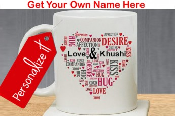 Peronalized Couples Love Word Art Mug