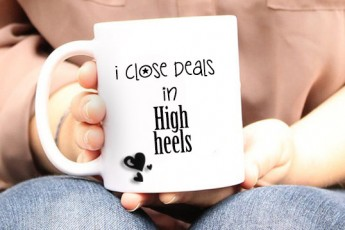I Close Deals in High Heels Mug