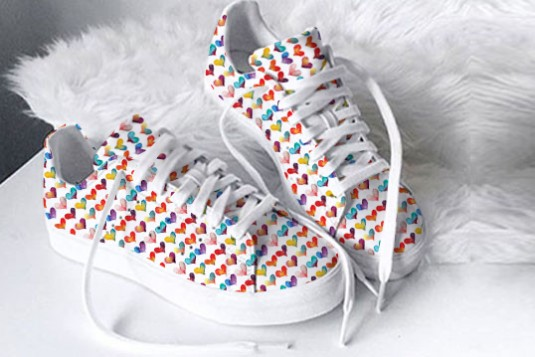 Colorful Hearts Printed Sneakers