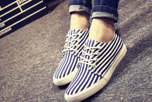 Blue Striped Sneakers