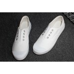 Canvas Laceless White Sneakers