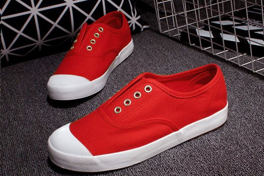 Canvas Laceless Red Sneakers