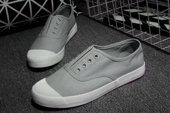Canvas Laceless Grey Sneakers