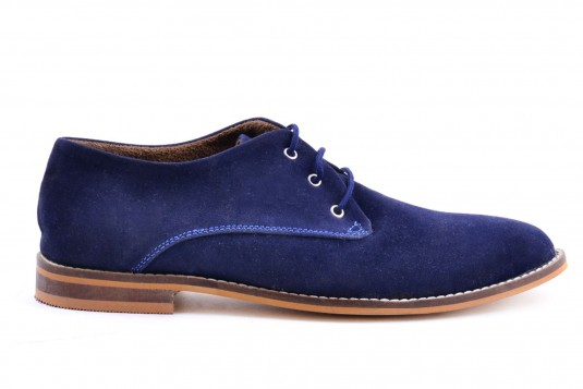 Mens Synthetic Suede Oxford Navy Blue