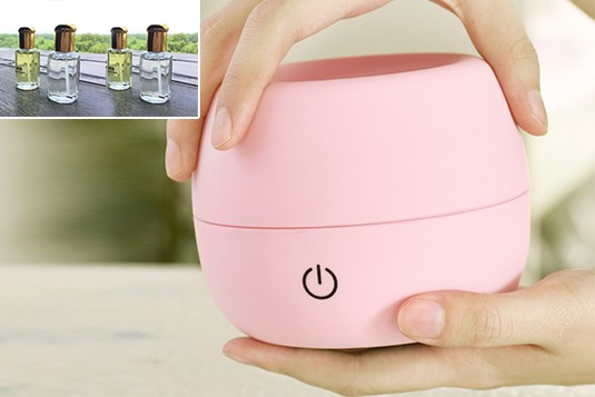 Translucent Pink Aroma USB Diffuser with four frangrances