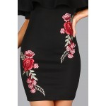 Embroidered Rose Applique Off Shoulder Ruffle Dress