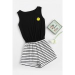 Striped Mix And Match Blouson Romper with smiley badge