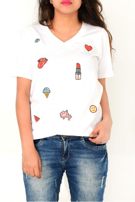 Hand painted patch T-Shirt