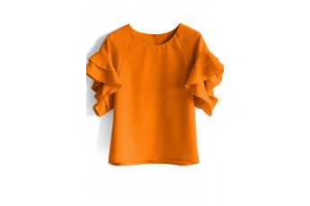 Ruffle sleeve top ochre