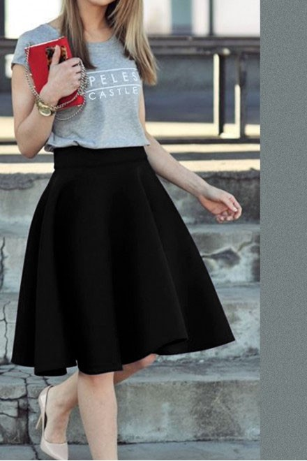 Set: Cool Grey top and Black Skirt
