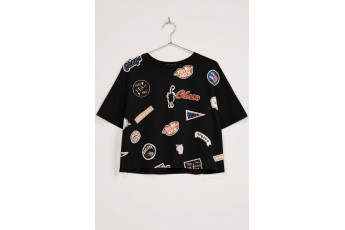 Multi Patches Top Black