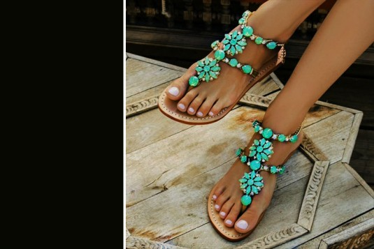 Blue accesories embellished flats