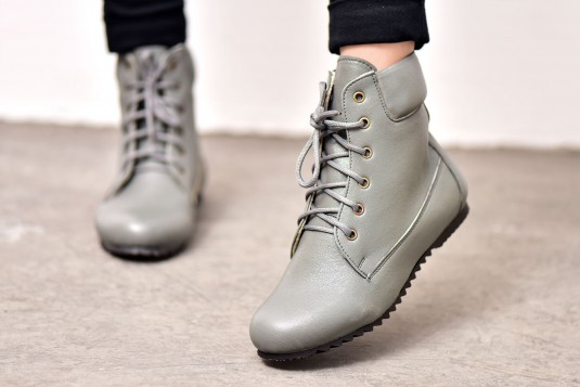 Grey Laces Boots