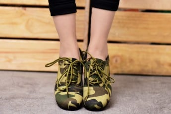 Militery Print Green Laces Sneakers