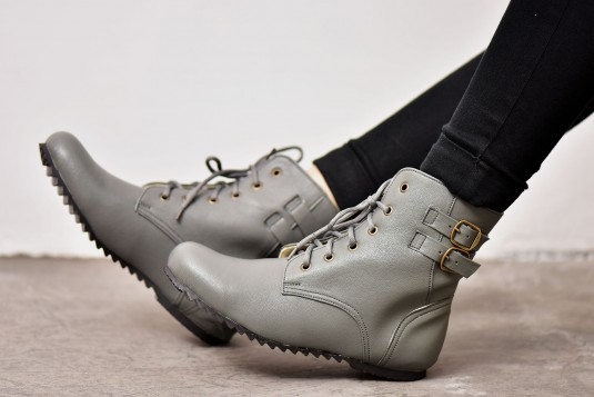 Grey Double Buckle Boots
