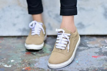 White Laces Beige Sneakers