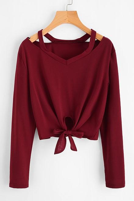 Cut Out Neck Knot Front Tee