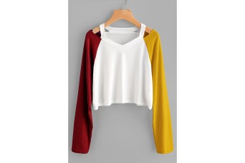 Two Clolor Sleeves Top