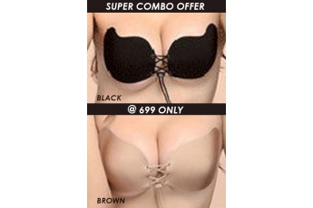 Set of 2: Lace Up Invisible Bra Black and Brown