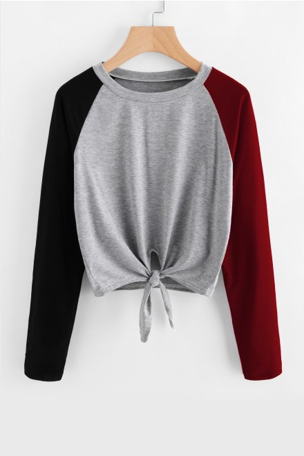 Colored Sleeves Front Knot top