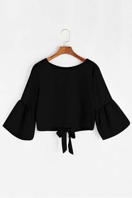 Flute Sleeve Bow Black Top