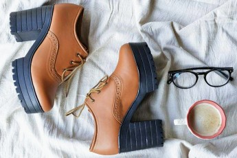 Chunky Heel Oxfords With Laces