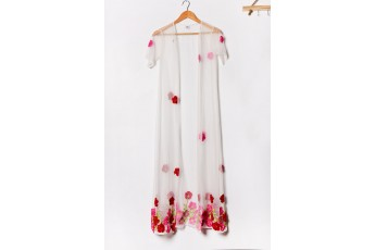 Rose Embroidered Sheer Shrug White