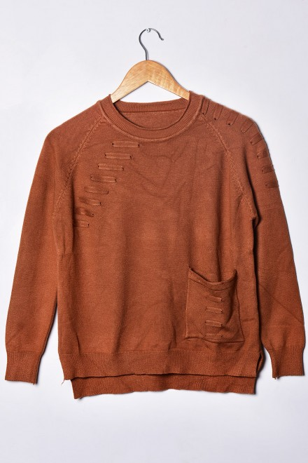 Brown Pocket Sweater