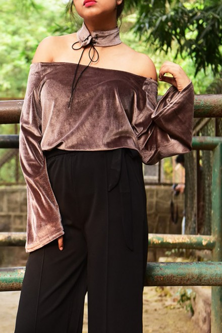 Velvet Off Shoulder Top