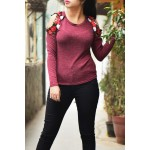 Marsala Rose patch cold shoulder top