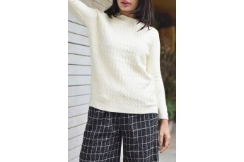 Mock neck ribbed sweater Off White