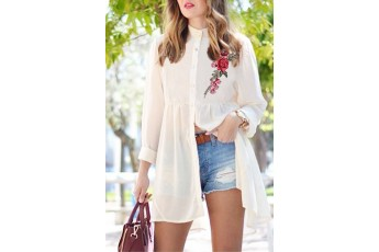 Sheer Open Neck Rose patch Long shirt