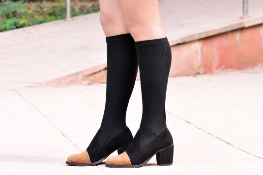 Two tone socks boots