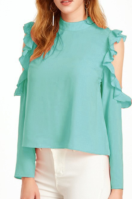 Sea green Open Shoulder Top