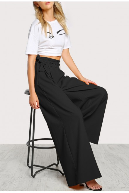 Set- Frill Waist Belted  Black Palazzo Pants And Top