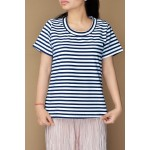 Navy Blue and white stripe top