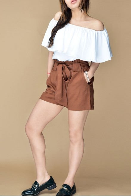 Set- White off shoulder top with brown shorts