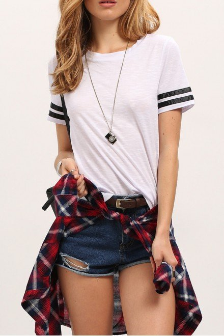 White Crew Neck Black striped Sleeve Casual T-shirt