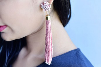Peach beaded hanging earrings
