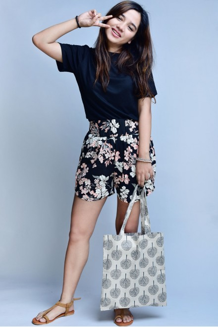 Set- Black half sleeves top with floral printed shorts