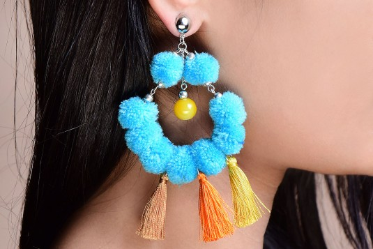 Multi-colored pom pom earrings