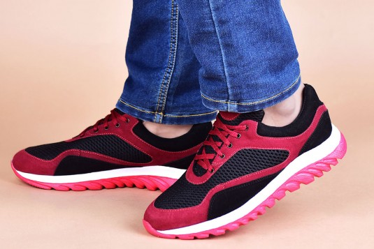 Red and black sport shoes