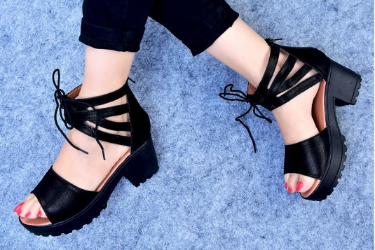 Lace Up Two Part Cleated Sandals Black