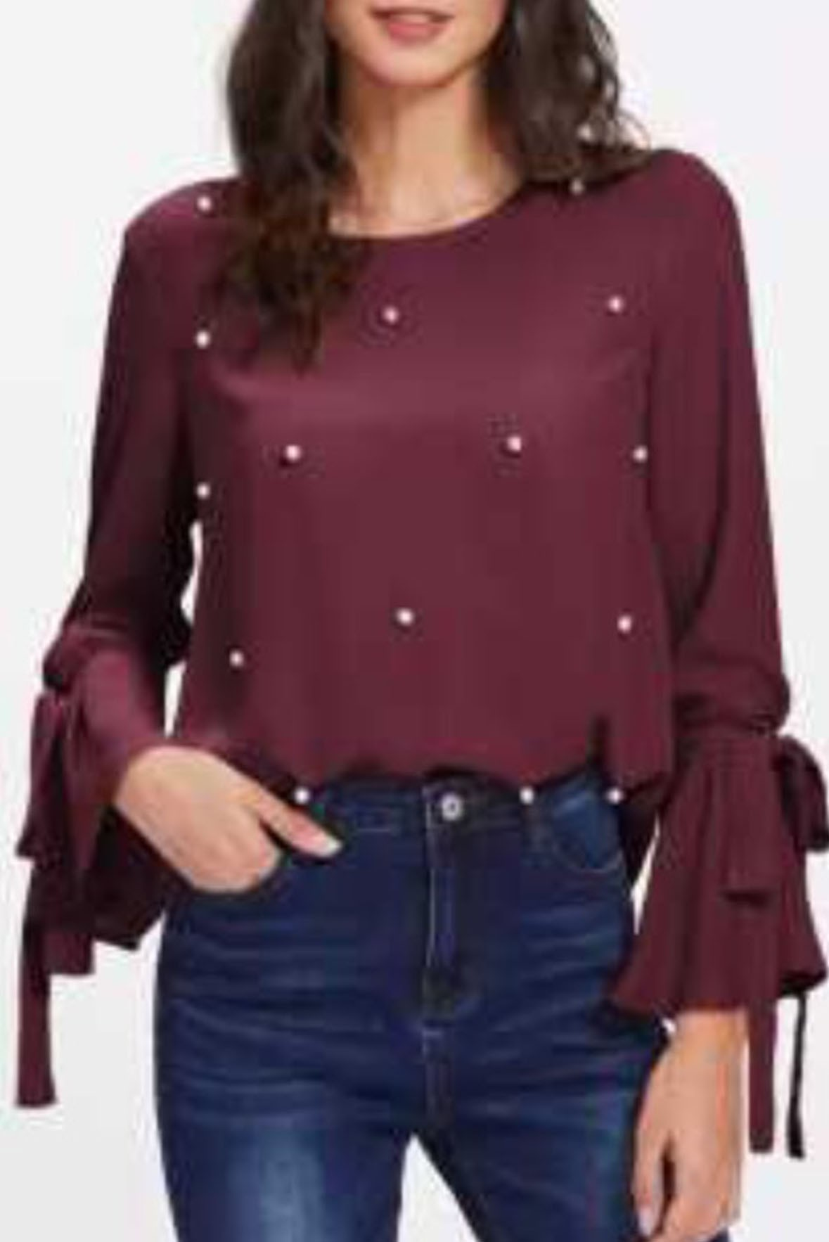 Flare sleeves top wine