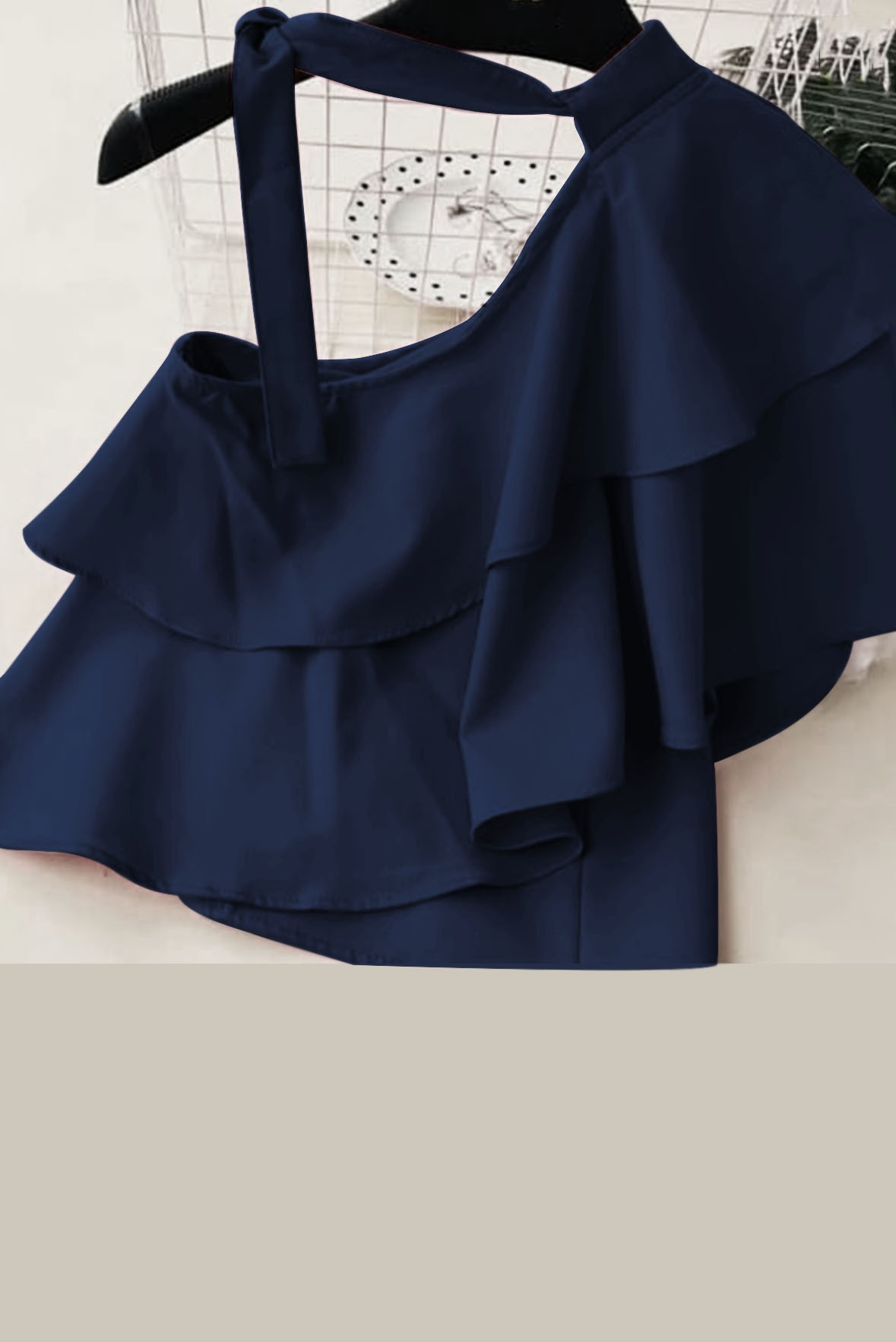 Knot One Shoulder Ruffle Top Navy Blue